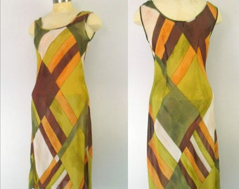 Henri Bendel Sheer Chiffon Slip Dress // Abstract Geometric Print Designer Sheath Size Small