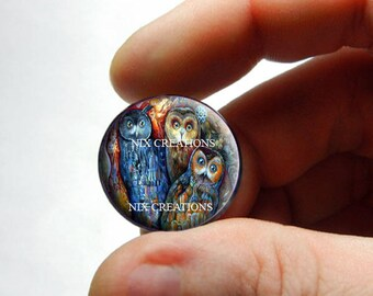 Glass Cabochon - 3 Owls  - for Jewelry and Pendant Making
