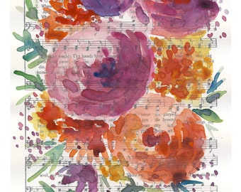 """Watercolor Hymn Print """"How Great Thou Art"""",  watercolor florals, abstract floral painting"""
