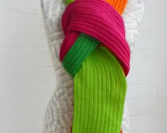Sale Neon Ribbed Scarf, Super Long Scarf, Hand Knit Scarf, Women Men Scarf, Pink Orange Green Fringed Scarf, Retro Scarf, ClickClackKnits