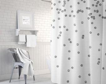 Silver Shower Curtain, Girls Bath Curtain, Teen Room Decor, Bathroom Decor, Standard or Extra Long Girls Shower Curtain