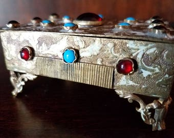 Vintage Austrian Jeweled Bronze Treasure Trinket Box with Glass Cabochons and Enamel Details