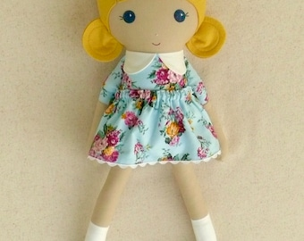 Fabric Doll Rag Doll 20 Inch Blond Girl in Baby Blue Floral Dress with Blue Shoes