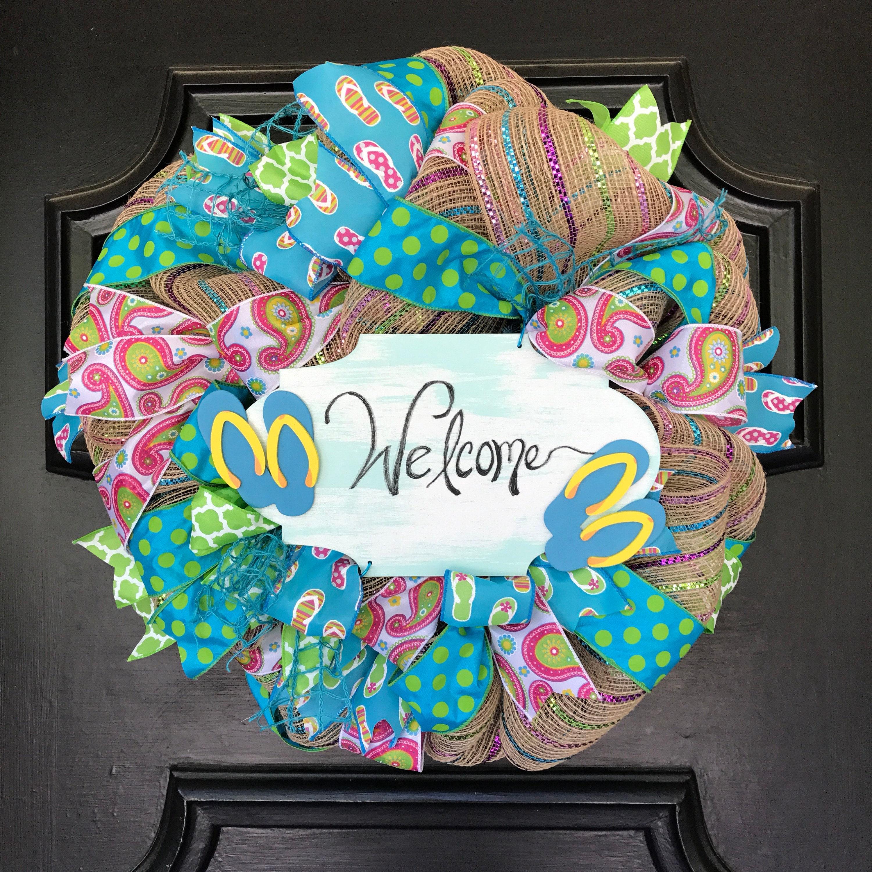 Flip Flop Wreath Summer Front Door Wreath Flip Flops Welcome