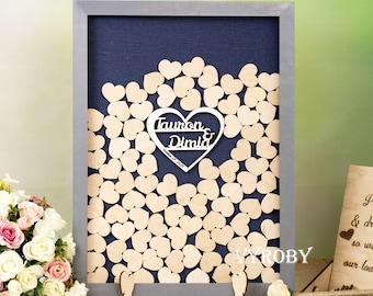 Heart drop box guest book Sign guestbook Custom wedding guest book alternative ideas Large shadow box frame Navy blue guest book wooden 3d