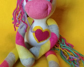 "Tiana - 13.5"" Sock Unicorn Plush - Handmade Plush Doll"