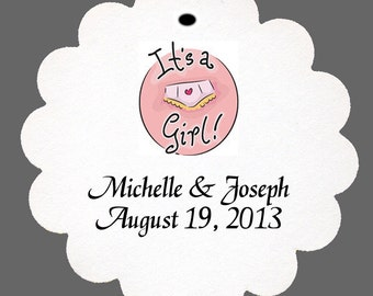 """24 Personalized """"It's a Girl"""" Favor Scalloped Tags Baby Shower Party"""