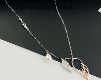 zircon solid sterling silver necklace mounting,necklace setting, wings pattern necklace blank without pearl, jewelry DIY, gift DIY