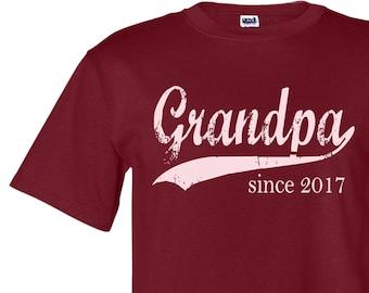 Grandpa since ANY year, personalized tee, grandpa shirt, Christmas gift for men, custom screen print tshirt, grandfather gift