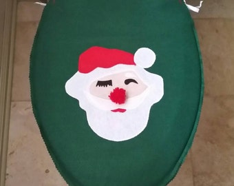 Felt Santa Clause Toilet Seat Cover Hiding Eyes Light Skin Red