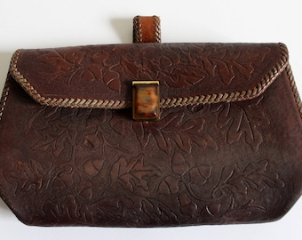 vintage tooled leather clutch // leather purse // brown leather handbag
