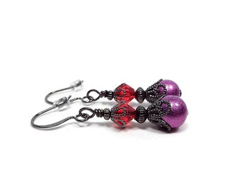 Drop Earrings, Red and Purple,  Lever Back Earrings, Colorful Bright, Glass Beaded, Goth Jewelry, Vintage Style, Screw Back
