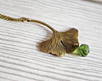 Ginkgo Leaf Bronze Necklace