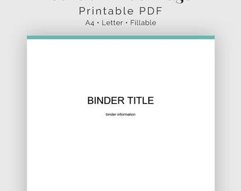 Cover Page / Divider Page - Fillable - Household Binder, Binder Organizer - Printable Organizational PDF - 3 colours - Instant Download