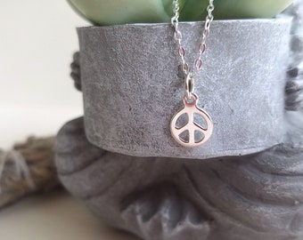 Dainty Peace Necklace, Sterling Silver, Yoga Jewelry, Minimalist Necklace, Boho, Layering Necklace, Made with Love