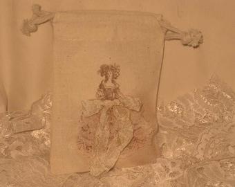 Muslin Wedding Shower Party Favor Gift Bag Wedding Dress Marie Antoinette Collection ECS