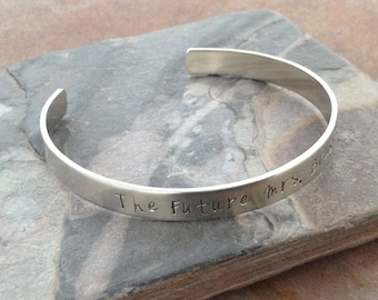 Custom Hand Stamped Cuff Bangle Bracelet - Personalized, German Silver