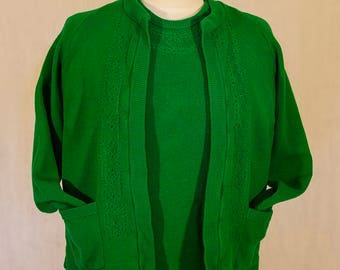 Super Emerald Green 1950s Twinset by Burnawn, Made in Scotland, Excellent Condition