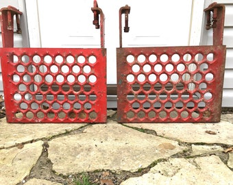 Pair of Huge Heavy Old Metal Steps
