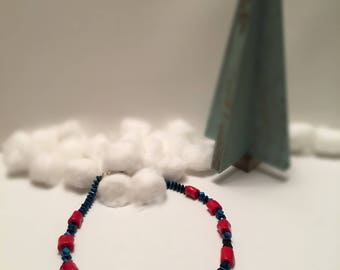 Red Bamboo and Blue Hematite Necklace