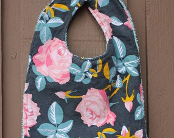 Baby Girl Floral Teething/Feeding Bib with Rose print and snap closure