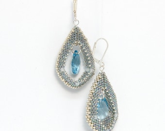 Creole Style beaded earrings - with Swarovski crystals - full tutorial and pattern - immediate PDF download - commissioned item if you wish!