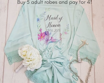 Bridesmaid Lace Satin Style Personalised Robe, Personalised Floral Robe, Bridal Party Robe, Bridesmaid Dressing Gown, Maid Of Honour Robe