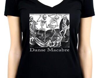 The Dance Of Death Danse Macabre Women's V-Neck Shirt Top Skeletons - DYS-WVN-017