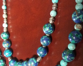 Southwest Speckled Turquoise Handmade Beaded Necklaces Set of 2