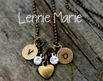 Personalized Hand Stamped Necklace, Initial Charms, Initial Necklace, Couples Jewelry, Children's Initials, Girlfriend Gift, Gift for Her