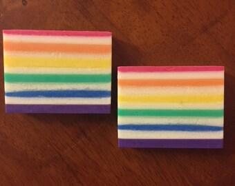 Rainbow Lines Soap, Handmade Soap, Shea Butter Soap, Artisan Soap, Handmade Gift