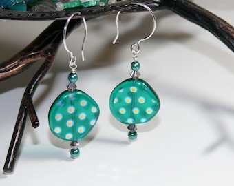 Crystal Ocean Czech Lentil with Spotted Luster Bead Earrings with Sterling Silver French Hoop Handmade Earwire