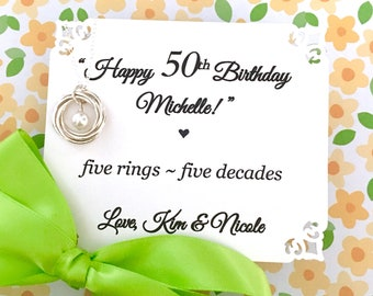50th Birthday gift for women, 5 interlocking circles, 5th Anniversary gift for her, Birthday Gift for Wife, Sister Necklace, Gift for Mom