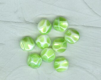 16 Vintage German Pale Green  Glass Beads Flattened Pressed  Rounds 1950s