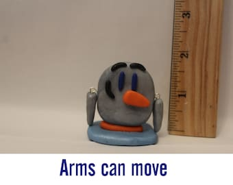 Statue= Penguin with moving arms -Polymer Clay-