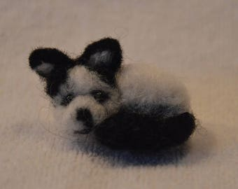 Dog, felted, black and white, miniature