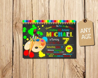 ART PARTY INVITATION, Art Birthday Party Invitation, Art Birthday Invitation, Printable Art party invitation, Kids' birthday invitations