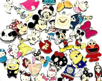 Cartoon Charms, 50 100, Pendants, Wholesale, Bulk, Princess, Mickey, Ariel, Enamel, Create Your Own, Snoopy, Popular, Movie