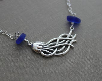 Sterling silver Jellyfish Charm Necklace with genuine cobalt blue sea glass   Beach Jewelry - 18 inch sterling silver cable chain - sea life
