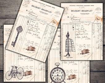 Vintage Ledger Ephemera - Digital Collage Sheet Download - Digital Paper Printables
