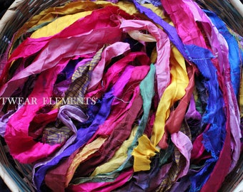 Pure Sari Silk, Vintage Rio Rush, 6 Yards, New Recycled Sari Silk, Fair Trade, Textile, Ribbon, Yarn, Silk, Sari silk, ArtWear Elements, 215