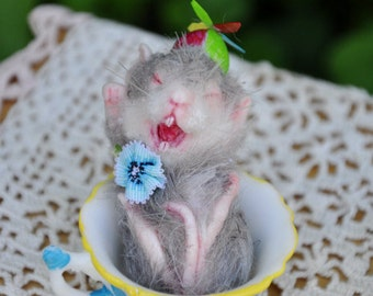 Alice in Wonderland Yawning Mouse Dormouse & Teacup miniature handmade resin sculpture by Jennifer Sutherland made to order
