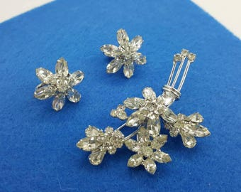 Napier  Brooch and Clip Earrings Signed Vintage Navette and Rhinestone Silver pure shine