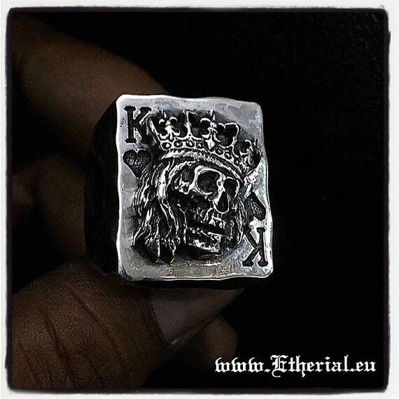 Etherial Jewelry Rock Chic Talisman Luxury Biker Custom Handmade Artisan Pure Sterling Silver .925 King of Hearts Gambler Badass Skull Ring