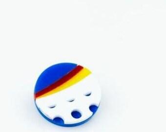 Lichtenstein Pop Art Pin. Plexiglass Brooch. Art Pin. Benday Dots. Acrylic Laser Cut Button. Gifts for Her. Primary Colour Pin. Art Gift