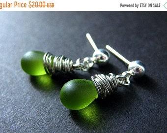 MOTHERS DAY SALE Dangle Earrings : Wire Wrapped Frosted Green Teardrop Stud Earrings. Handmade Jewelry.
