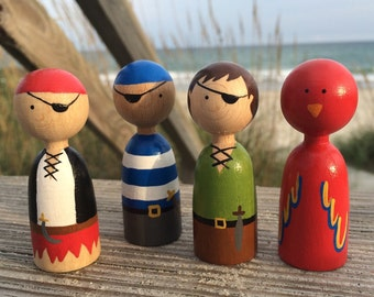 Finger Puppets // Peg Doll Finger Puppets // Wooden Finger Puppets // Handpainted Finger Puppets // Quiet Toys // Pirate Toys