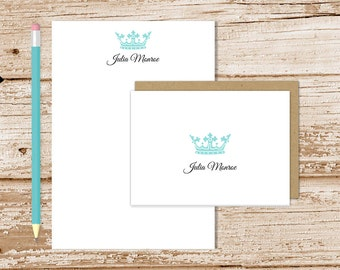 crown personalized stationery set . royal crown notepad + note card set . notecards note pad . royalty formal stationary gift set