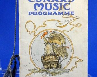 Mermaids on Music Program Vintage Cunard Ocean Liner 1929 Laconia, Franconia 18746