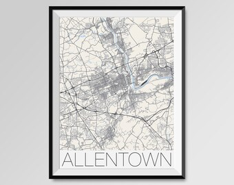 ALLENTOWN Pennsylvania Map, Allentown City Map Print, Allentown Map Poster, Allentown Wall Map Art, Custom city maps, Pennsylvania map